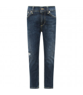 "DONDUP KIDS Jeans bambino""Roddy"" blu denim con iconica D"