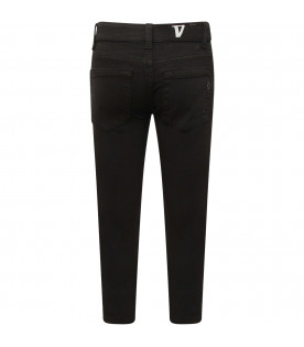 "DONDUP KIDS Black boy ""George"" jeans with iconic D"