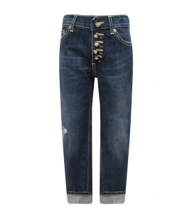 "DONDUP KIDS Jeans bambina""Surie"" blu denim con iconica D e cuori applicati"