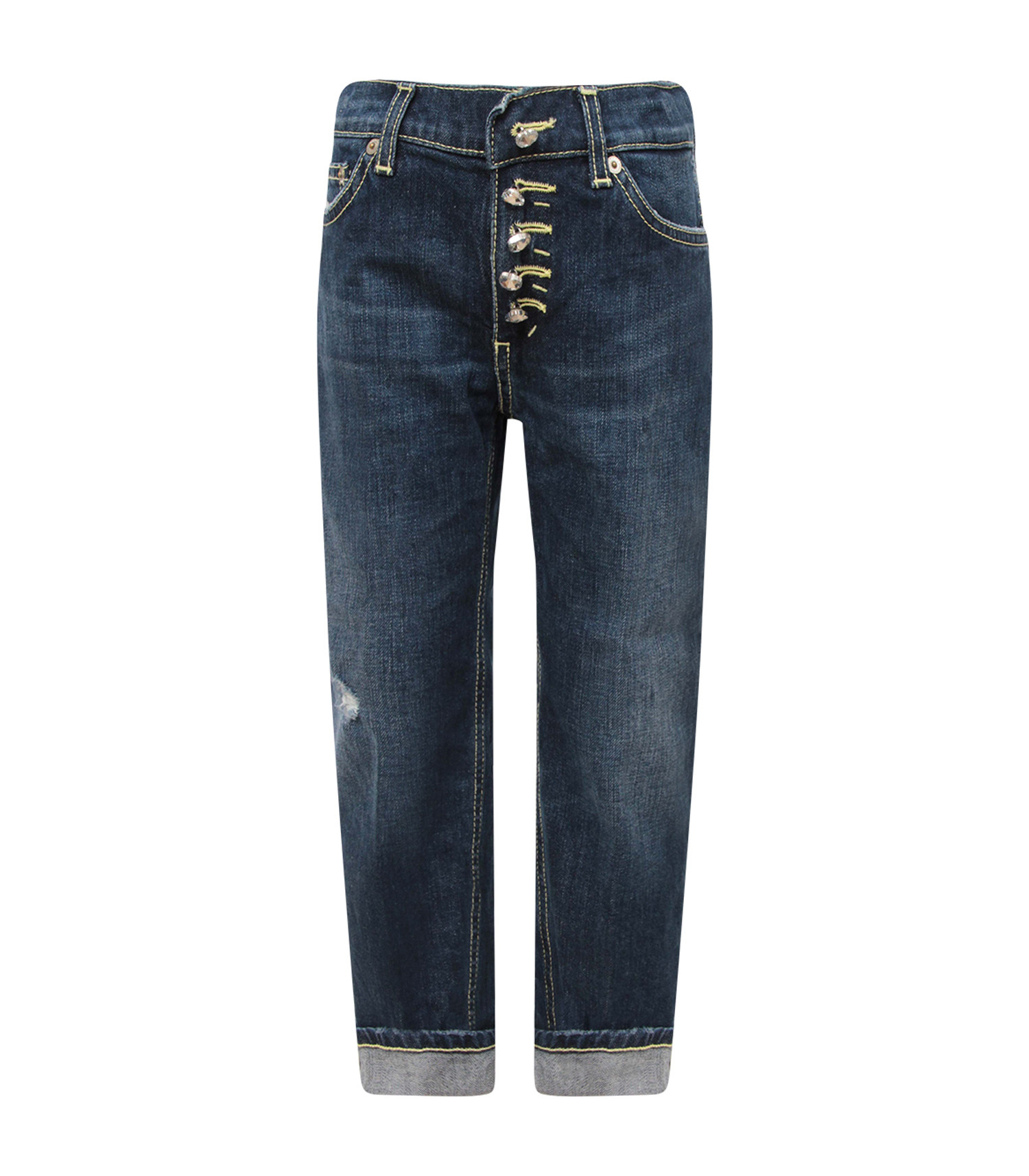 """Dondup Kids Blue denim girl """"Surie"""" jeans with iconic D and appliqued hearts"""