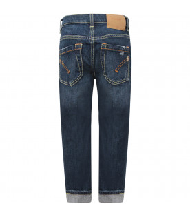 "Jeans bambina""Surie"" blu denim con iconica D e cuori applicati"