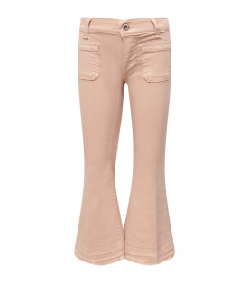 "Pink girl ""Campbell"" jeans with iconic D"