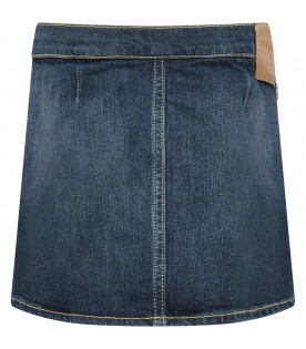 DONDUP KIDS Gonna bambina blu denim con cuori applicati