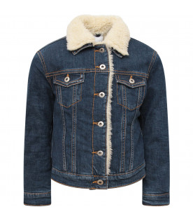Blue denim boy jacket with shearling detail