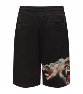 "MARCELO BURLON KIDS Black ""Monkeys"" boy shorts"