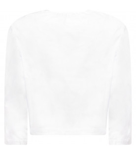 OWA YURIKA White girl blouse with blue patches