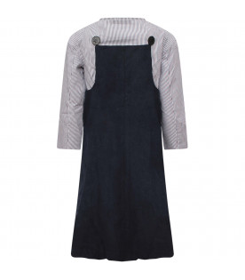 OWA YURIKA Blue girl dress with white and blue striped top