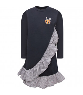 OWA YURIKA Blue girl dress with colorful patch