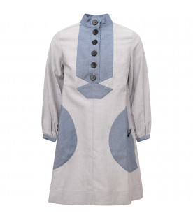 OWA YURIKA Grey girl dress with heavenly detail