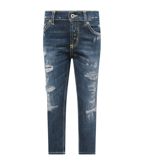 "DONDUP KIDS Blue denim boy ""Brighton"" jeans with iconic D"