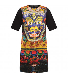 ROBERTO CAVALLI KIDS Black girl dress with colorful Chinese dragon