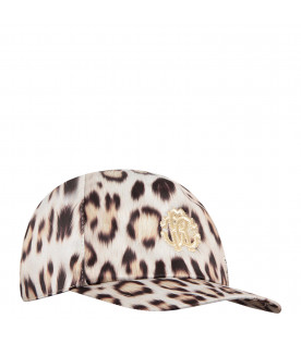 ROBERTO CAVALLI KIDS Beige hat with animalier print