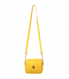 ROBERTO CAVALLI KIDS Yellow bag with lgold metallic logo