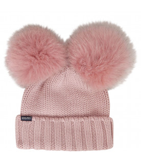 WOOLRICH KIDS Pink hat with pom-pom