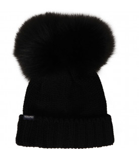 WOOLRICH KIDS Black hat with pom-pom