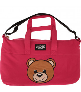 MOSCHINO KIDS Fucsia changing bag with Teddy Bear