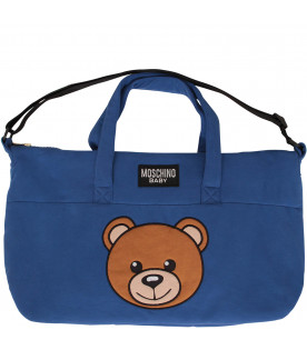 MOSCHINO KIDS Royal blue changing bag with Teddy Bear