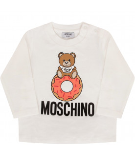 MOSCHINO KIDS Ivory t-shirt with Teddy Bear