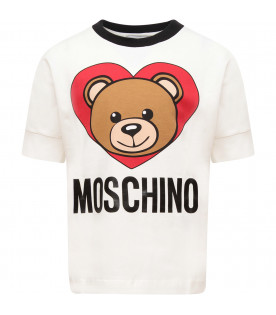 MOSCHINO KIDS Ivory girl t-shirt with Teddy Bear