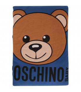 MOSCHINO KIDS Royal blue blanket with Teddy Bear
