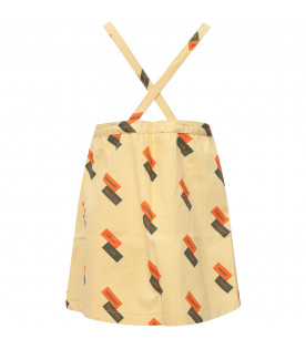 TINYCOTTONS Yellow girl dungarees with orange and green writing
