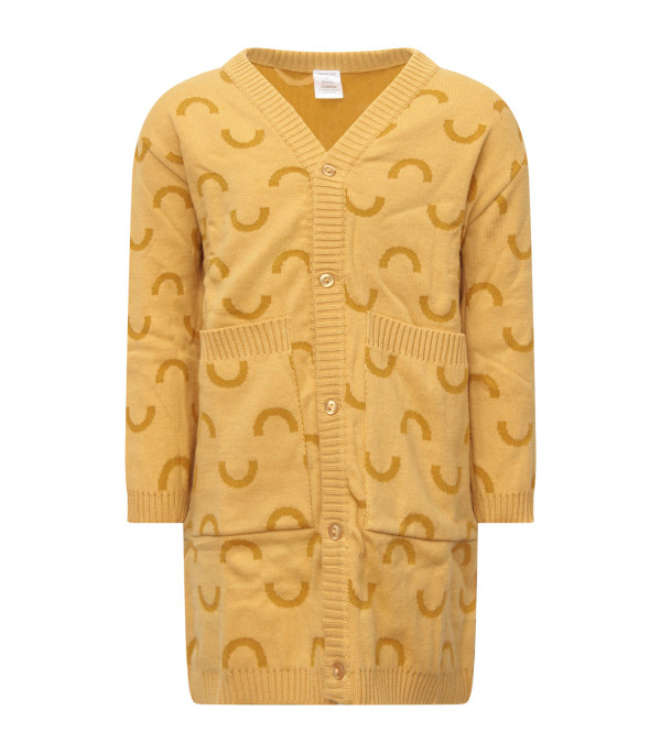 TINYCOTTONS Yellow cardigan with jacquard patterns