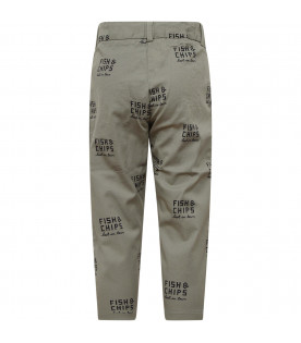 TINYCOTTONS Military green boy pant with Fish & Chips writing