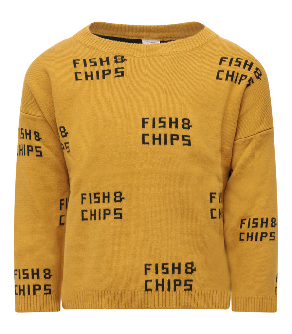 TINYCOTTONS Yellow  sweater with green all-over writing