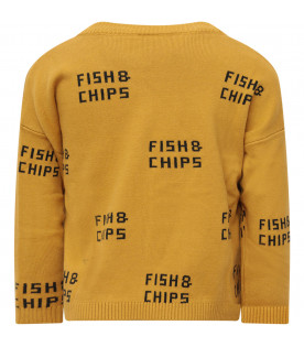 Yellow  sweater with green all-over writing