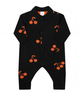 TINYCOTTONS Blue babygrow with orange all-over cherries