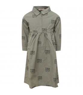 TINYCOTTONS Military green girl dress with blue all-over writing