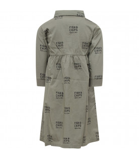 Military green girl dress with blue all-over writing