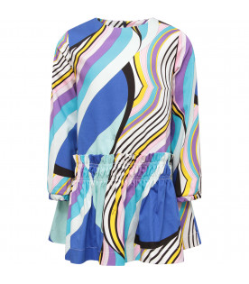 EMILIO PUCCI JUNIOR Multicolor girl dress with brand's iconic print