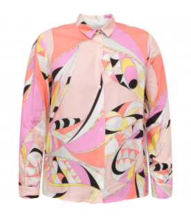 EMILIO PUCCI JUNIOR Pink girl shirt with colorful brand's iconic print