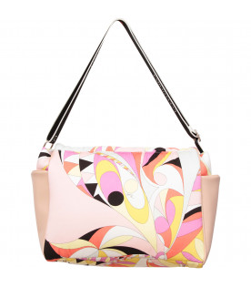 EMILIO PUCCI JUNIOR Multicolor changing bag with colorful brand's iconic print