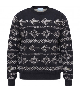LANVIN PETITE Blue boy sweater with jacquard patterns