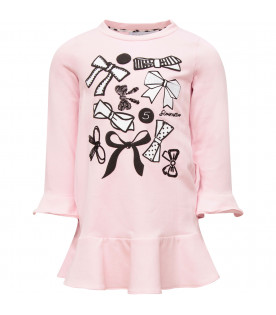 SIMONETTA Pink girl dress with white bows