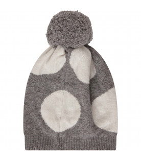 SIMONETTA Grey hat with polka-dots and pom-pom