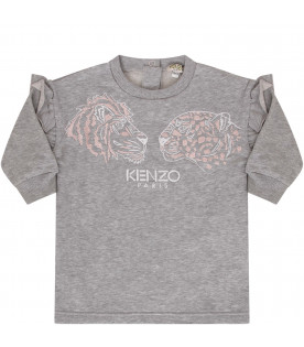 KENZO KIDS Grey dress with two colorful tigers
