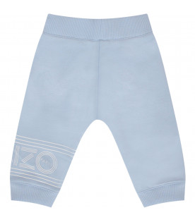 KENZO KIDS Light blue sweatpants with white logo