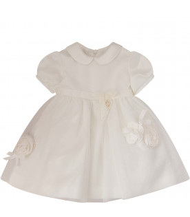 BLUMARINE BABY White dress with tulle flowers and bows