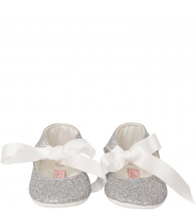BLUMARINE BABY Silver flat shoes