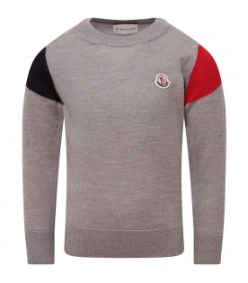MONCLER KIDS Grey boy sweater with iconic patch