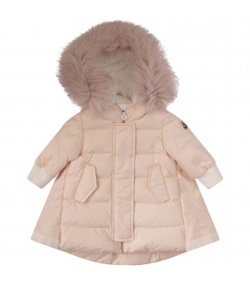 MONCLER KIDS Pink jacket with iconic logo