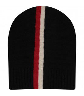 MONCLER KIDS Black hat with red, blue and white stripes.