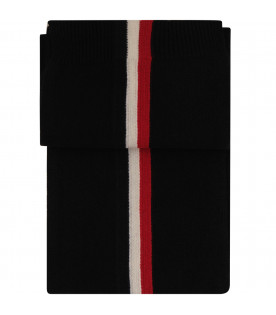MONCLER KIDS Black scarf with blue, red and white stripes