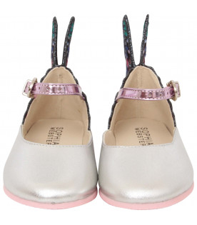 "SOPHIA WEBSTER MINI Ballerine ""Chiara Embroidery Baby"" argento"