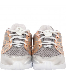 "SOPHIA WEBSTER MINI Silver and rose gold ""Chiara Mini"" sneaker"