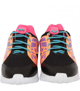 "SOPHIA WEBSTER MINI Black ""Chiara Mini"" sneaker with fluo details"
