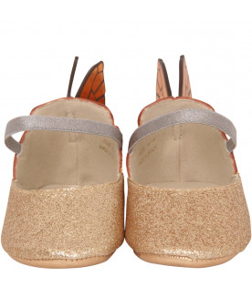 "SOPHIA WEBSTER MINI Gold glitter ""Chiara Mini"" ballerina"